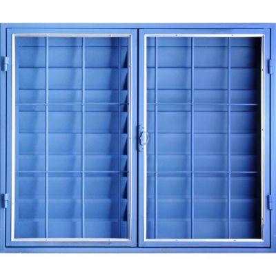 Ventana Chapa Vidrio Entero Abrir con Celocia y Reja Azul 120x100 Cm