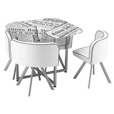 Comedor 4 Sillas Newspaper 100x100x75 Cm Easy